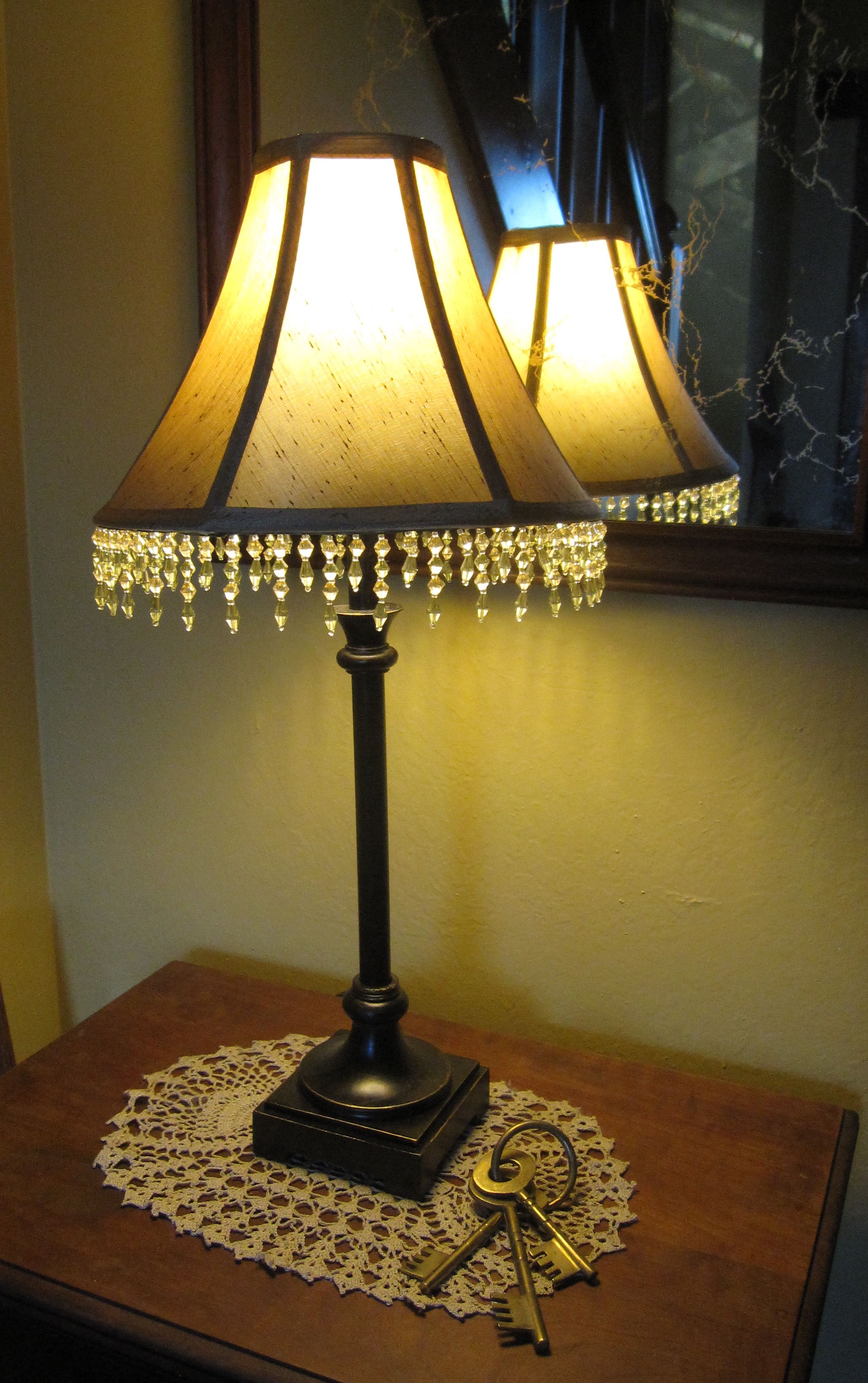 Two wildflowers beaded fringe lamp shade i purchased this little candlestick lamp and shade for about 25 i liked the size but was not to thrilled about the ho hum shade aloadofball Gallery